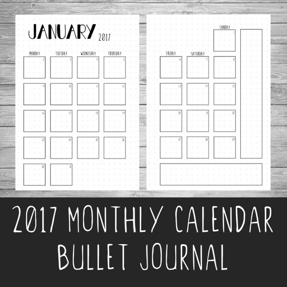 2017 Bullet Journal Monthly Calendar