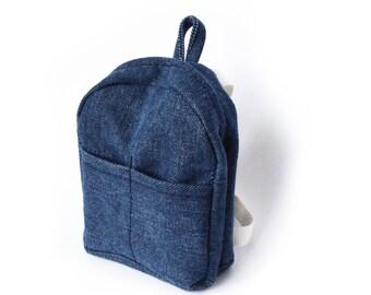 Backpack. Small denim eco backpack for Philomena Kloss bears