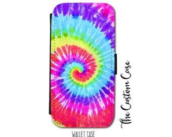 Tie Dye Phone Case, Tie Dye Wallet Phone Case, Rainbow Tie Dye Swirl Leather Flip Case, Hippie, for Samsung Galaxy and Iphone cases