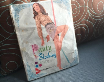 Panty Stockings Japan, Vintage Seamless Nylon Stockings, 1960s Sheer Pantyhose, Exquisite Hosiery Stockings, Dead Stock, Size M