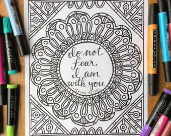 Adult Coloring Page - Do Not Fear, I Am With You - Printable Coloring Page for Adults - Christian Coloring Page - Scripture Coloring Page