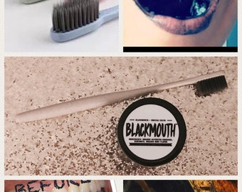 Free Bamboo Toothbrush with purchase! BLACKMOUTH™ Organic Activated Charcoal Teeth Whitening Powder 2 oz (mint) SALE plus FREE Shipping!!