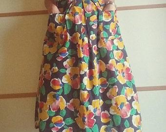 80's flower Skirt// colored print//