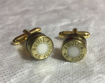 Gold w/White Center Bullet Cuff Links (AGUILA 45 AUTO)
