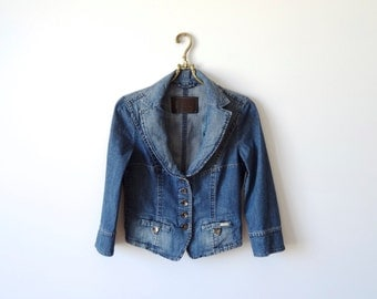 Women Denim Jacket MARC CAIN Jacket Blue Jean Short Jacket 3/4 Sleeves Metal Buttons Size Small