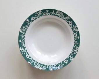 8 Digoin Sarreguemines France, Decor: Minou, set of 8 deep plates / soup plates, green with floraldecor