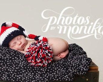 Long Tail Hat, Elf Hat, Newborn Photo Prop, Newborn Hat, Crochet Baby Hat, Newborn Elf Hat, Red White Blue, Baby Hat, Patriotic Hat