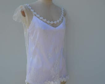 Blouse in ivory lace married, cache shoulder ivory lace, married top backless