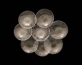 "Vintage 1970s Mid Century Modern Sasaki Rain Bread and Butter Side Plates Modernist Starburst Design 5.75"" Japan"