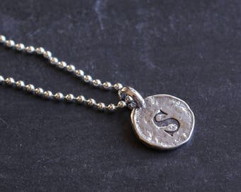 Initial Sterling Silver Ball Chain,Cable Chain Necklace-12mm Hammered Silver Letter Disc-Personalized Initial Alphabet-Men,Women,His,Her