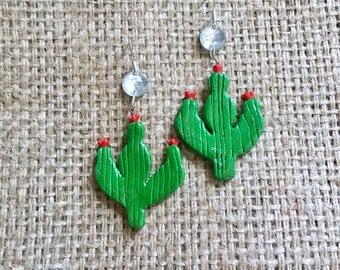 Boho Cactus Earrings, Cactus Earrings, Crystal Cactus Drops, Wood Cactus Drops, Crystal Earrings, Cowgirl Earrings, Vintage Cactus Drops