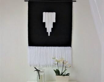 Tapestry wall hanging, woven wall hanging, Boho wall tapestry, White black tapestry, Fiber art, Woven wall decor, handmade wall hanging, art