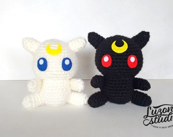 In amigurumi plush Luna and Artemis from Sailor Moon-inspired handmade (unofficial) Kawaii ~ made by custom