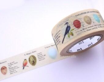Egg of wild bird washi tape, Bird egg, Easter decoration, Japanese stationery, Picture book washi tape, Hobonichi tape, Wide washi tape