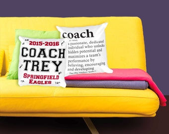 Coaches Gift | Personalized Pillow Gift for Coach from Team | CUSTOM Coach Gift for Assistant, Basketball, Football, Baseball, Softball