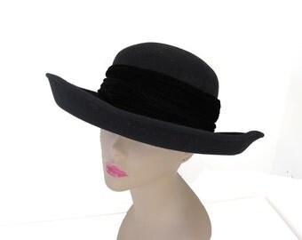 Black Bollman Hat, Wool Wide Brim With Velvet Trim 1970s