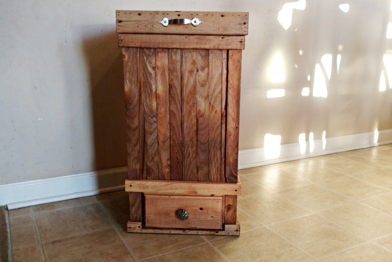 13 Gallon Trash Can With Bottom Drawer Rustic Kitchen Trash