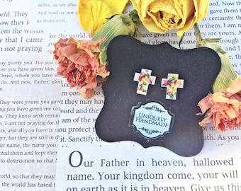 Memorial Flowers, Funeral Flower Jewelry, Cross Earrings, Memorial Flower Jewelry, Flower Keepsakes, Sympathy, Remembrance, Cross Jewelry