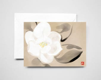 White Magnolia Flower Card, Unique Sumi-e Painting Print Yin&Yang Zen Illustration Ink Drawing Greeting Floral Wabi Sabi
