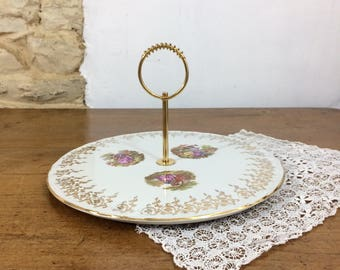 Large French Porcelain Cake Stand. Single Tier Vintage Limoges Brass Handled Cake Plate