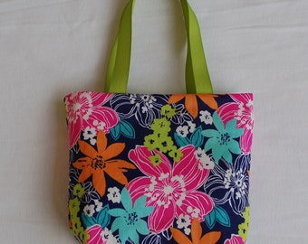 Fabric Gift Bag/ Small Tote/ Hostess Gift Bag- Pink and Blue Floral