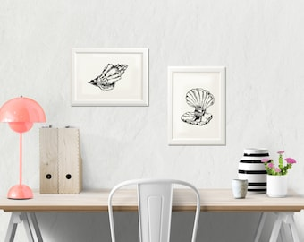 Seashellss printable, Sea life art,  Black and white art print, Set of 2, Shell sketch, Art & collectibles, Dorm decor, Spring decor