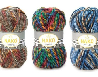 Wool and acrylic yarn POP MIX NAKO, sectional yarn, color palette