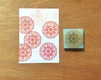 Abstract mandala stamp, mandala rubber stamp, mandala eraser stamp, texture stamp, handmade pattern rubber stamp, hand carved stamp
