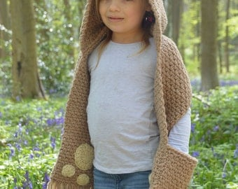 CROCHET PATTERN- The Bramble Bear Hooded Scarf (Toddler, Child, Teen, Adult sizes) -crochet hood pattern crochet scarf -Instant PDF Download