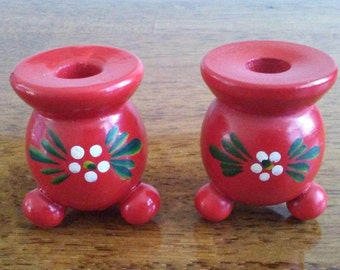 Sweden wooden taper candle holders 2 Vintage red hand painted with flower retro mid century small
