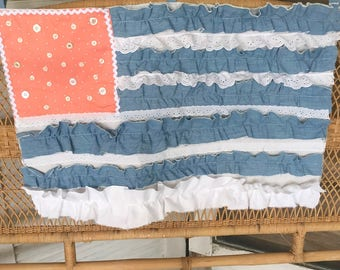 Large shabby chic ruffled chambray and lace US flag