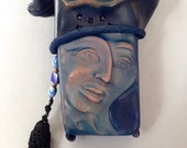 "Small Leather Face Bag ""Pursona"" Purse, ""second"" by Einbender Studios in Antique Navy sized for iphone 5"