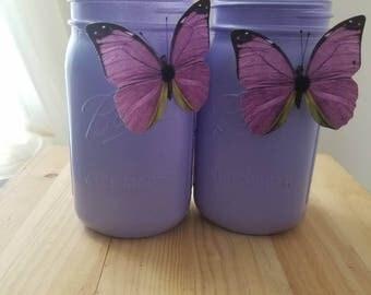 Purple Butterfly Mason Jars. Spring time Jars. Purple Mason Jar Vases. Butterfly Home Decor. Butterfly Jars, Purple Mason Jars,Lavender Jars
