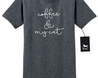 Coffee and My Cat   Cat T Shirt   Fun Cat Humor   Unisex T Shirt