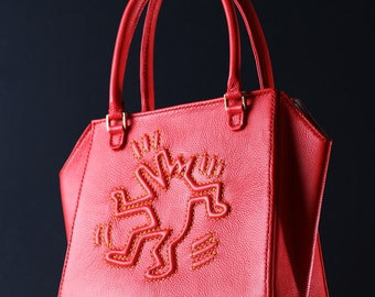 Keith Haring Handmade Leather Mini Tote