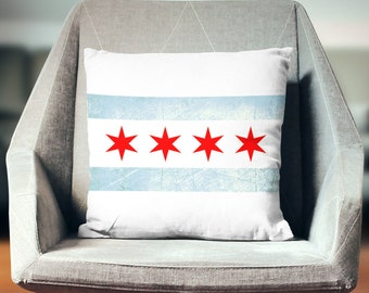 Chicago Pillow | Illionis Pillow | Chicago Flag | Chicago Decor | Chicago Throw Pillow | Chicago Flag Pillow | Chicago Gifts