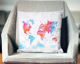 World Map Pillow   World Map Decor  World Map Cushion   World Map Throw Pillow   World Map Bedding   Map Pillow   Map Decor   Map Gifts  