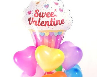 "32"" Jumbo cupcake valentine balloon. valentine's day balloon. heart balloon. love. valentine's day party decor. cupcake balloon. Jumbo heart"
