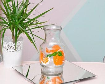 Vintage Anchor Hocking (AHC) Glass Orange Juice Pitcher - Unique Design!