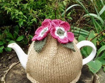 Caramel Hand Knitted Tea Cosy with Rose Pink Flowers and Olive Leaves