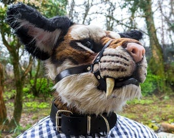 Genuine leather fursuit muzzle harness with optional leather collar