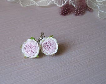 Pastel earrings for bride jewelry for bridesmaids earrings Pink rose earrings Spring jewelry Flower earrings Dainty earrings blush earrings