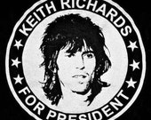 KEITH RICHARDS For PRESIDENT - Rolling Stones Guitarist / 60's British Invasion Rock Superhero / Humor Tee / t-shirt