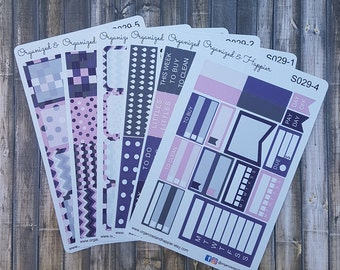Weekly Personal Sticker Full Kit Erin Condren Planner headers boxes checklist tracker washi flags vertical matte paper #S029-Purple