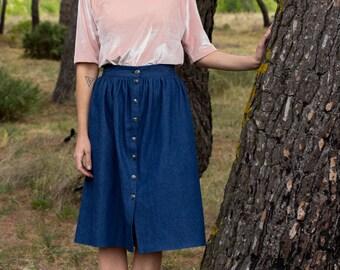 Jean skirt, women skirt, midi skirt, skirt with buttons, casual skirt, denim skirt, comfy skirt, everyday skirt, blue skirt.