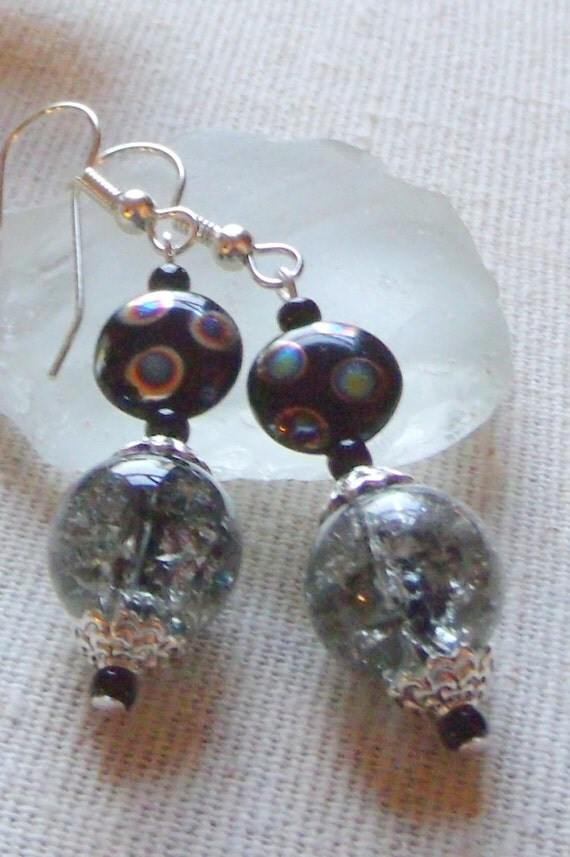 Gray crackle bead round multi disk earrings, abstract jewelry, unique design ,  funky beads, festive , unusual gift, neutral earrings