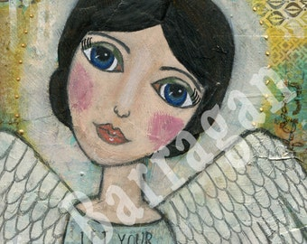 Whimsical Angel, Spiritual gift, Meditation art, Mantra wall art, New Age Gift, Divine Light, Mixed Media, Jackie Barragan, Courage & Art