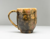Large Coffee Mug, Unique Handmade Mug, Pottery Mug, Ceramic Mug, Gold Mug, Crystalline Ceramics, Wheel Thrown, Porcelain Mug, Kitchen Decor