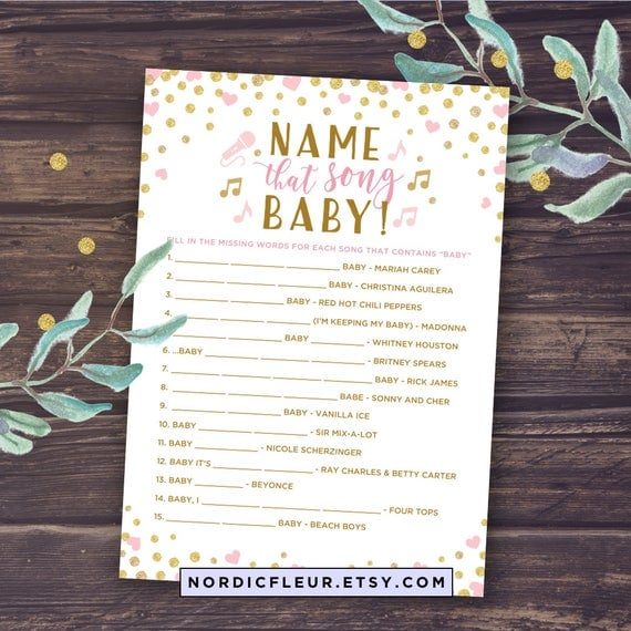 Baby Shower Girl Songs ~ Blush and gold baby shower girl printable name that song