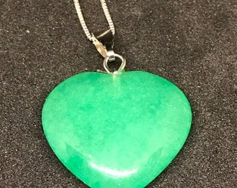Handmade Carved and Polished Jade Heart with Fine Filigree Silver Chain Necklace